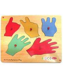 Learners Play Hands Counting Knob Puzzle Multicolor - 5 Pieces