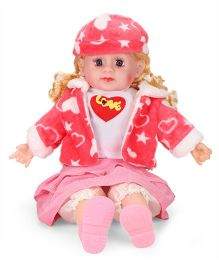 Smiles Creation Doll With Jacket Heart Print Pink White - 54 cm