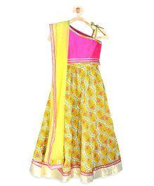 Pspeaches Floral Lehenga Choli Set - Yellow