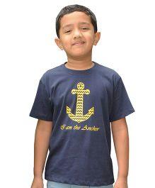 Snowflakes Half Sleeves Anchor Print T-Shirt - Navy Blue