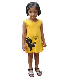 Snowflakes Sleeveless A Line Frock Deer Print - Yellow