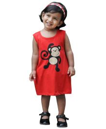 Snowflakes Sleeveless A Line Frock Monkey Print - Red