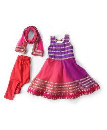Kids Chakra Salwar Kurta & Dupatta Set - Purple & Pink