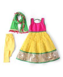 Kids Chakra Net Salwar Kurta & Dupatta Set - Yellow & Multicolour