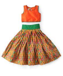 Kids Chakra Printed Crop Top & Ghagra Set - Orange