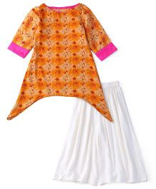 Kids Chakra Printed Palazzo & Kurti Set - Orange