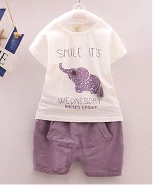 Dells World Elephant Print Clothing Set - Lavender & White