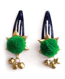 Soulfulsaai Ghungroo Pompom Clips - Green