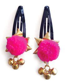 Soulfulsaai Ghungroo Pompom Clips - Pink