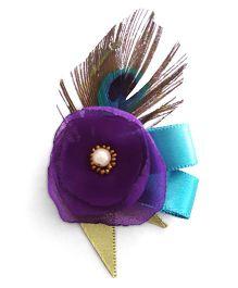 Soulfulsaai Peacock Feather Flower Hairclip - Multicolour