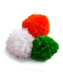 Soulfulsaai Tiranga Mini Pompoms Broach - Multicolour