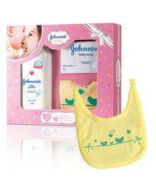 Johnson's baby Care Collection With Organic Cotton Bib - 3 Gift Items