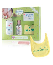 Johnson's baby Care Collection With Organic Cotton Bib & Baby Comb - 5 Gift Items