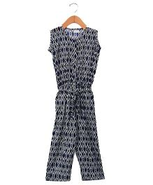 Sequences Geometrical Print Full Length Jumpsuit - Dark Blue
