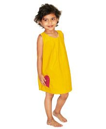 Kadambaby Corduroy A-Line Dress With Heart Pocket - Yellow