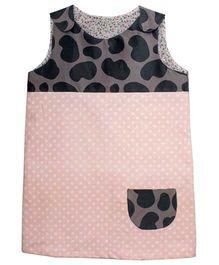 Kadambaby Corduroy Sleeveless Dress With Dotted Print - Pink & Black