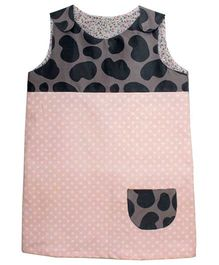 Kadambaby Corduroy Sleeveless Dress With Dotted Print - Pink & Black