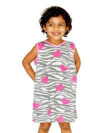 Kadambaby Zebra Stripes N Hearts Printed A-line Dress - Grey & Pink