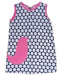 Kadambaby Polka Printed A Line Dress With Bird Applique - Blue & Pink