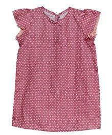 Kadambaby Flutter Sleeve A-Line Dress - Pink