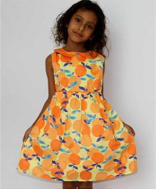 Kadambaby Sleeveless Frock Fruit Print - Orange
