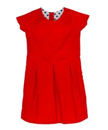 Kadambaby Short Sleeves Solid Colour Dress - Red