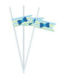 Prettyurparty Little Man Theme Straws - Pack of 10