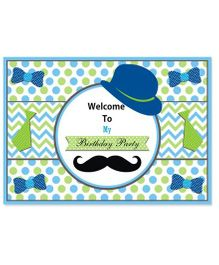 Prettyurparty Little Man Theme Entrance Banner - Blue And Green