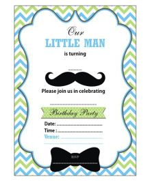 Prettyurparty Little Man Theme Invitations Green Blue White - Pack Of 10