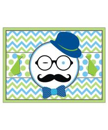 Prettyurparty Little Man Theme Table Mats Green Blue White - Pack Of 6