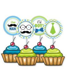Prettyurparty Little Man Theme Cupcake Or Food Toppers Green White - Pack of 10
