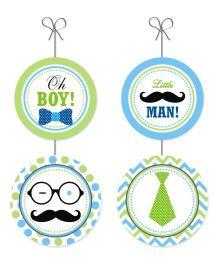 Prettyurparty Little Man Theme Danglers Green White Blue - Pack Of 6