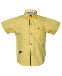 Tales & Stories Half Sleeves Printed Shirt - Yellow