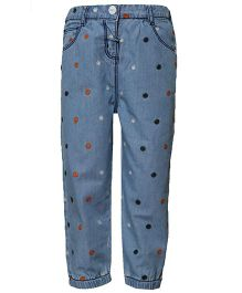 Tales & Stories Full Length Jeans Floral Embroidery - Light Blue