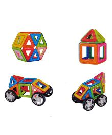 Magic Pitara Magnetic Building Blocks Set With Wheels Multicolor - 22 Pieces