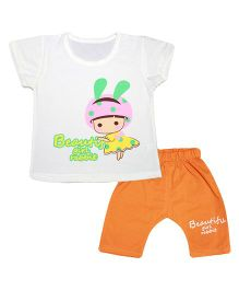 Kiwi Short Sleeves Top And Diaper Leggings - White Orange