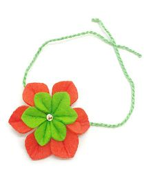 Mi Dulce An'ya Flower Rakhi - Green and Red