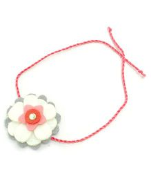 Mi Dulce An'ya Layered Flower Rakhi - White and Grey