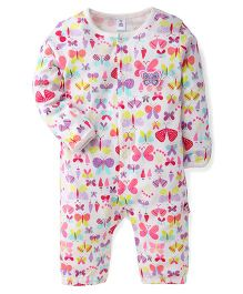 ToffyHouse Full Sleeves Romper Butterfly Print - Pink White