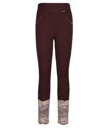 Cutecumber Fitted Leggings Embellished With Rhinestones And Lace - Brown