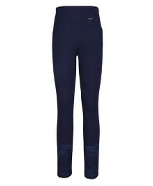 Cutecumber Fitted Leggings Embellished With Rhinestones And Lace - Navy Blue