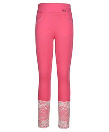 Cutecumber Fitted Leggings Embellished With Rhinestones And Lace - Pink