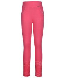 Cutecumber Fitted Leggings Embellished With Rhinestones And Lace - Rose Pink