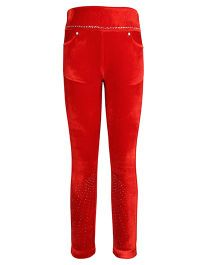 Cutecumber Leggings With Rhinestone Embellishment - Red