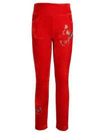 Cutecumber Leggings Rhinestone Butterfly Embellishment - Red