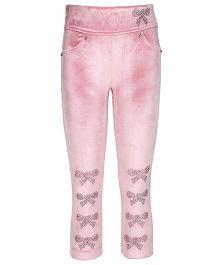 Cutecumber Leggings With Rhinestone Bows - Pink
