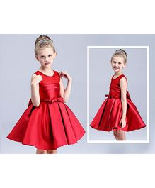 The KidShop Pleated Dress With A Classic Bow - Red