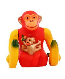 Toycry Battery Operated Banana Monkey Figure - Red Yellow