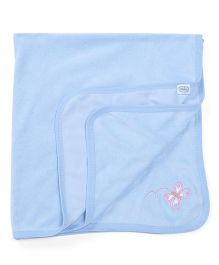Babyhug Towel Butterfly Embroidery - Blue