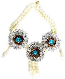 Little Pocket Store Handmade Gota Necklace Coper - Blue & Off White